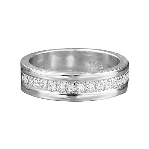 minjiSF Anillo de plata de ley para mujer, no se decolora, clásico, brillante, joya de compromiso, regalo, accesorio de joyería (plata 9)