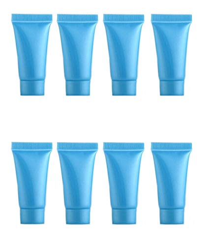 Snadulor 5ml 50 Pcs Empty Squeeze Bottle Refillable Travel Plastic Tube Bottles for Cosmetic Body Hand Cream Lotion Shampoo Facial Cleanser(Blue)