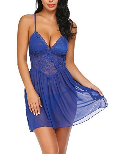 Damen Sexy Spitze Negligee Nachtwäsche Reizwäsche V-Ausschnitt Babydoll Lingerie Kleid Transparent Rückenfrei Nachtkleid Nachthemd Dessous Set Sleepwear (XXL, Y Blau)