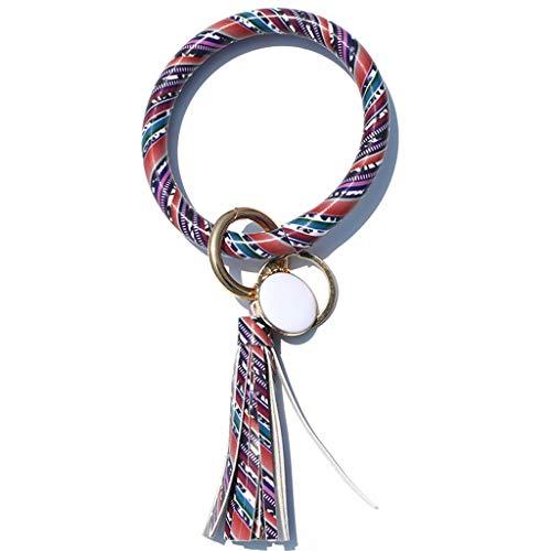 Hunpta@ - Llavero de piel vintage con borla redonda para mujer, informal, portátil, para colgar llaves, anillos, joyas, decoración, regalo