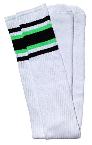Skater Socks 88,9 cm Oberschenkelhoch weiße Röhrensocken mit schwarz-neongrünen Streifen Stil 4