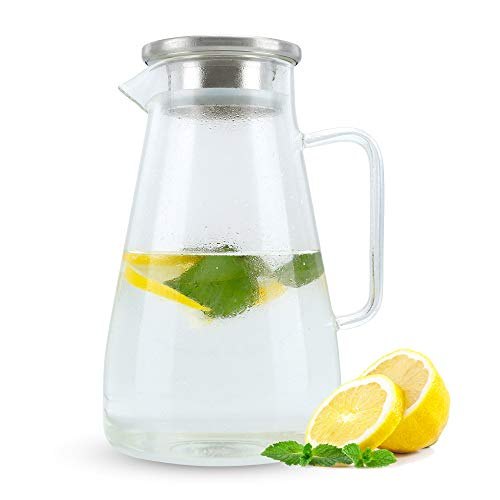 Intirilife Jarra 1,5l en Claro - Jarra con Tapa de Vidrio borosilicato con asa y Filtro extraíble Adecuado para Bebidas Calientes y frías - Jarra de Agua Jarra de té Helado