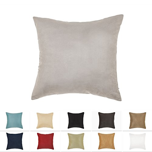 DreamHome 20 X 20 Inches Gray Color Faux Suede Decorative Pillow Cover, Throw Pillow Case with Hidden Zipper, Super Soft Faux Suede On Both Sides