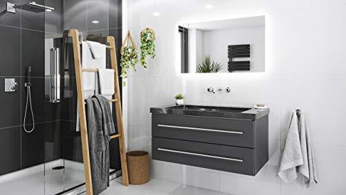 Mueble de baño granito Galaxy Black Damo 100cm sin agujero Antracita y espejo