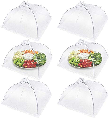 Fliegenhaube, 6er Set Abdeckhaube für Essen, 17 Zoll Abdeckhauben für lebensmittel,obsthaube,Faltbare Kuchenabdeckung, Fliegenschirm Lebensmittel Abdeckung, Fliegen-Schutz für Essen