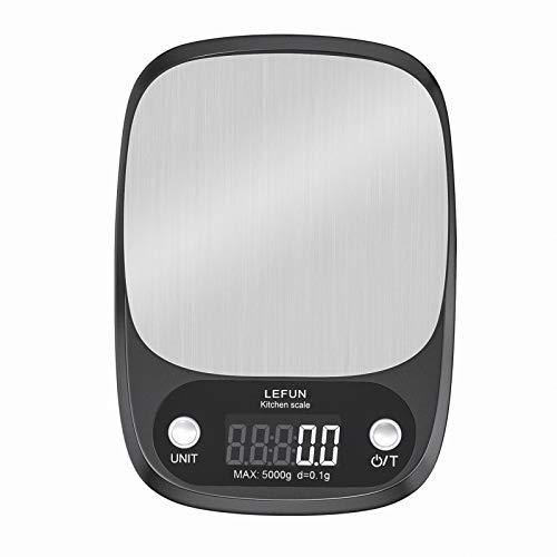 Lefun キッチンスケール 0.1g 高精度センサー デジタルクッキングスケール 5000g 電子はかり 風袋引き機能 デジタル 電子スケール LCDディスプレイ 計量可能 計量器 オートパワーオフ機能 コンパクト 料理 単4形乾電池付属