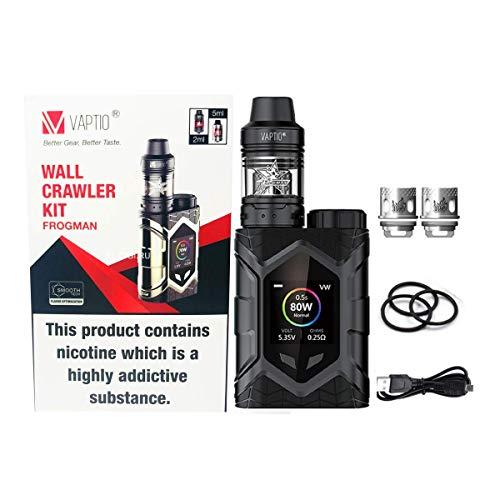 Vaptio E-Cigarette, Vaptio - Kit cingolatore da parete, 80 W, Frogman Tank, kit vapore, senza e-liquido, senza nicotina