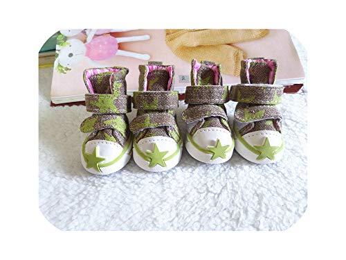 Beste Dagboek Winkel Huisdier Hond Schoenen Leuke Sterren Puppy Boot Outdoor Casual Canvas Sneakers Teddy Kleine Honden Schoenen, 6, Groen