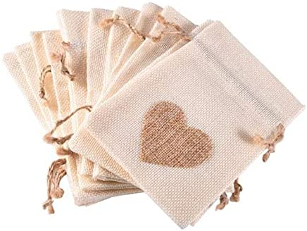 BEESCLOVER 12Pcs/Set Heart-Shaped Favor Bag Trendy White Linen Drawstring Wedding Gifts Bags Jewelry Bags Candy Bags 10 * 14cm Beige One Size