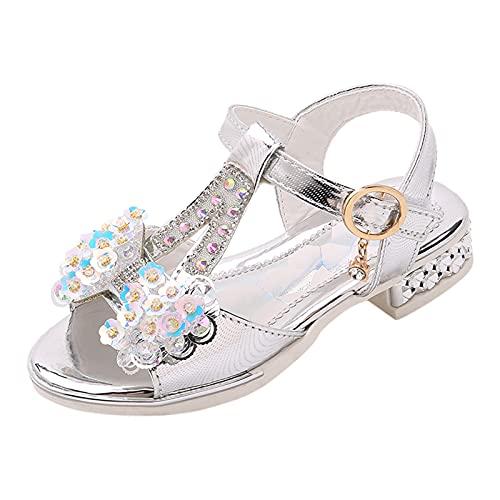Zapatos de Tango Latino para Niños Vestir Fiesta Arco Princesa Sandalias Perla Rhinestone Lentejuelas Zapatitos de Tacón Bebé Niña Primavera Verano Zapatillas de Baile Niñas Sandalias niña Bonita