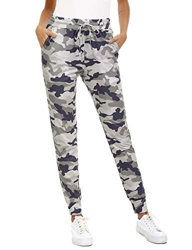 Doaraha Pantalones de Camuflaje para Mujer Pantalones Chándal Pantalones Deportivos con Cordón Pantalones de Pierna de Cónica