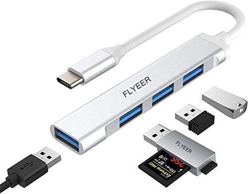 USB C Hub, FLYEER 4-in-1 USB C Adapter with USB 3.0 Port,Ultra Slim Data Hub, Compatible for MacBook Pro, iPad Pro, MacBook, Dell XPS, Surface Book and Other Type-C Devices