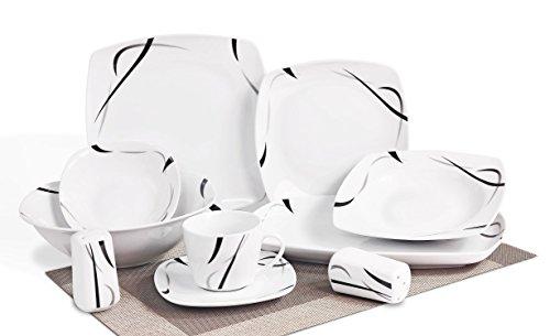 Topkapi Black Light TK-877 - Vajilla de porcelana de 40piezas