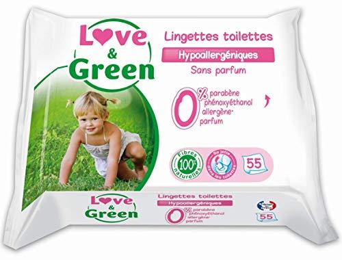 Love & Green Lingettes Toilettes Hypoallergéniques - Se jettent dans les toilettes - Paquet de 55 Lingettes