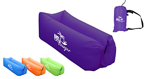 US Lounger Dark Purple Fast Inflatable Portable Outdoor or Indoor Wind Bed Lounger, Air Bag Sofa, Air Sleeping Sofa Couch, Lazy Bed for Camping, Beach, Park, Backyard