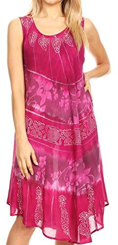 Sakkas 18156 - Daniella Women's Flowy Tie Dye Relax Caftan Tank Dress Cover up Sleeveless - Fuchsia/Pink - OS