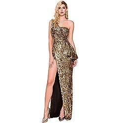Gold Sequin One-Shoulder Backless High Slit Elegant Maxi Gown
