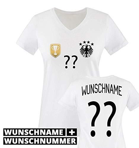 Trikot - Deluxe 2016 - DE - WUNSCHDRUCK - Damen V-Neck T-Shirt - Weiss/Schwarz-Gold Gr. S
