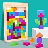QQJL Bloques de construcción de Madera para niños Montessori Toys para 3 4 años de Edad, niñas y niñas   Bloques de construcción de Juguetes de Madera para 3 4 años de Edad.