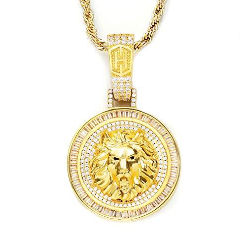 HELLOICE Collar con medalla de cabeza de león helada para hombres, rapero, chapado en oro de 18 quilates, con cadena gratuita Punk Hip Hop collar con caja de regalo