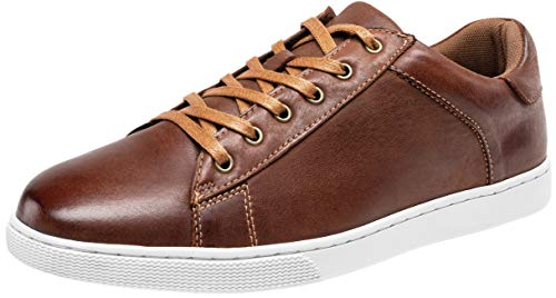 JOUSEN Men's Leather Sneakers Fashion Dress Sneaker Business Casual Shoes for Men (MY852 Red Brown 9)