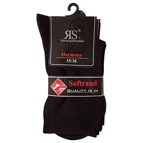 Unbekannt 6 Paar Socken Pia Harmony RS Baumwolle ohne Naht (39-42, Schwarz)