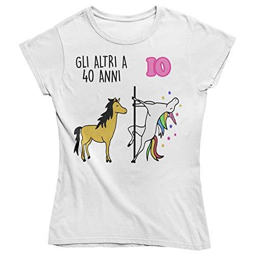 Vulfire Maglietta da Donna Idea Regalo per Compleanno, Regalo 40 Anni, Festa dei 40 Anni, quarant'anni t Shirt Unicorno (Bianco, M)