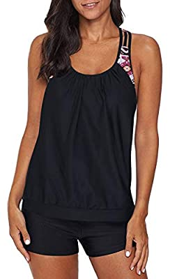Yonique Blouson Tankini Swimsuits for Women Athletic Two Piece Strappy T-Back Bathing Suits with Shorts Black L