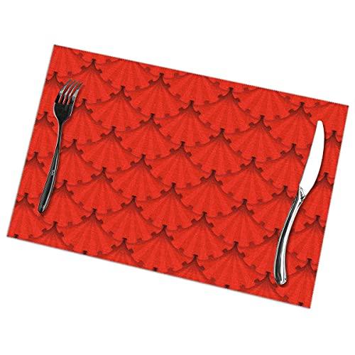 Nar Land Patriots Holiday Red Ribbon Rosettes Set de Table de Table pour Table à Manger Ensemble de 6 Tapis de Table résistants à la Chaleur et antidérapants 12 x 18 po