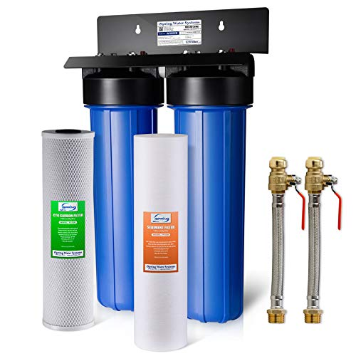 """iSpring WGB22B+AHPF12MNPT16X2 2-Stage Whole House Water Filtration System with 20"""" x 4.5"""" Fine Sediment and Carbon Block Filters and 3/4"""" Push-fit Stainless Steel Hose Connectors, blue"""