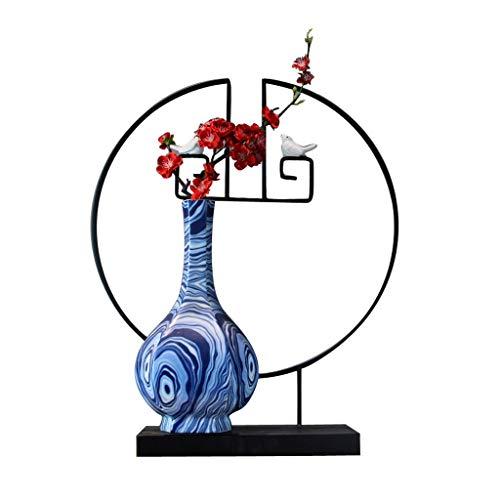 Flores Artificiales China aves y flores de hierro de estilo botella de cerámica Simulación Conjunto de la flor, joyería de la flor artificial de Inicio, creativo Oficina Decoración artificial Pot Deco