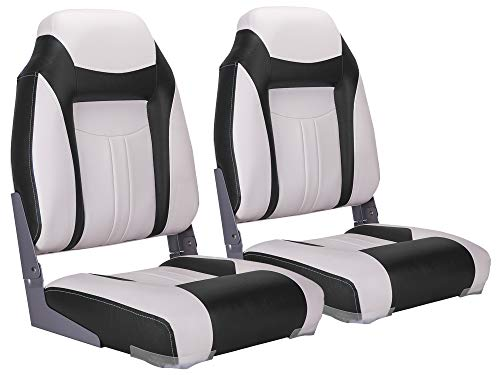 NORTHCAPTAIN S1 Deluxe High Back Folding Boat Seat(2 Seats),White/Black,Stainless Steel Screws Included