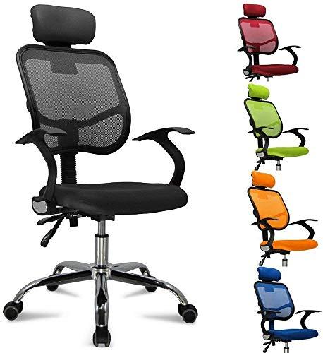 femor Bürostuhl, ergonomischer Schreibtischstuhl, Chefsessel mit Rollen, Bürodrehstuhl mit Verstellbarer Lordosenstütze, Kopfstütze, Armlehne und Rückenlehne, Höhenverstellung, bis 130kg, Schwarz
