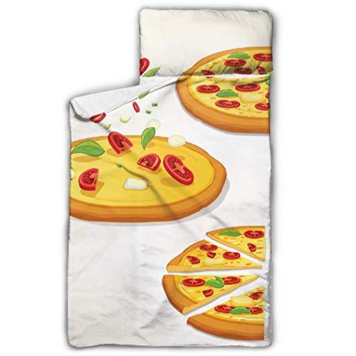 Leckere Pizza Fast Food Slice Kinderbett für Kindertagesstätten Schlafsäcke für Kinder Mädchen mit Decke und Kissen Rollup Design Ideal für Kindergarten Kindertagesstätten Übernachtungen 50