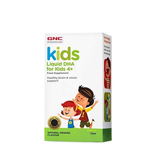 GNC Milestones® Kids Liquid DHA, sabor a naranja natural, para niños de 4 años en adelante, apoya el cerebro y la visión saludables