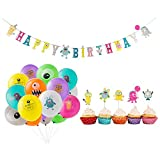SUNBEAUTY Monstre Anniversaire Decoration Enfant Ballon Kit Happy Birthday Monster Party avec Cake Topper pour Bebe Fille Garcon