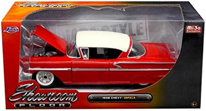 Jada 98896 1958 Chevrolet Impala Red Showroom Floor 1 24 Diecast Model Car