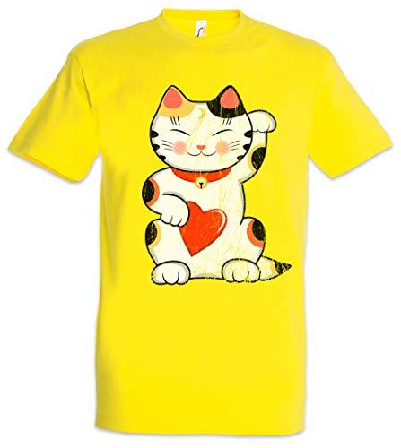 Urban Backwoods Maneki Neko II Camiseta De Hombre T-Shirt Amarillo Talla 2XL