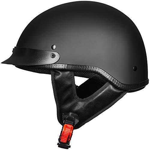 ILM Motorcycle Half Face Helmet DOT Approved Bike Cruiser ATV (Matte Black, L)