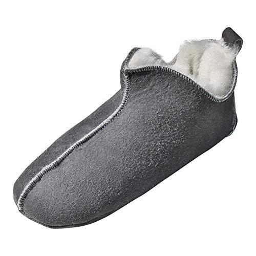 Hollert Damen & Herren Lammfell Hausschuhe Bali GRAU/WEIß 100% Merino Schaffell Fellschuhe Bettschuhe weiche Ledersohle Hüttenschuhe Mokkasin atmungsaktiv Schuhgröße EUR 42