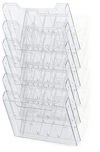 Exacompta 64258D Wandprospekthalter (DIN A4 quer, 6 fächer) 1 Stück, transparent