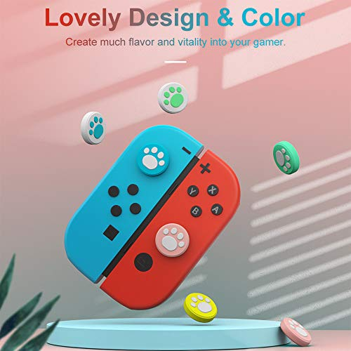 MoKo Thumb Grip Caps Compatible with Nintendo Switch/Switch Lite, 6PCs Cute Cat Claw Design Thumb Grip Caps Joystick Cap Silicone Cover Compatible with Joy-con Controller, Colorful