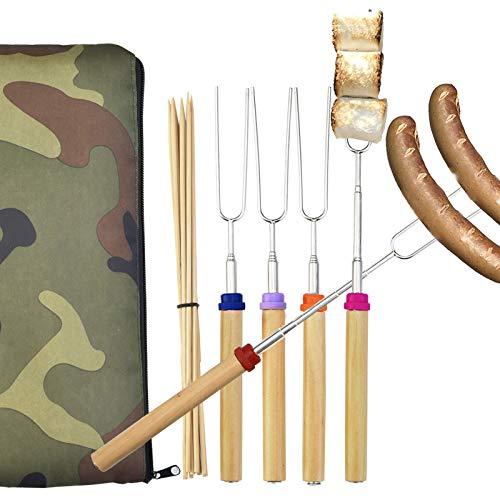 Wuple Marshmallow Roasting Sticks Set of 5 Smores Sticks for Fire Pit Campfire Roasting Sticks 30 inch