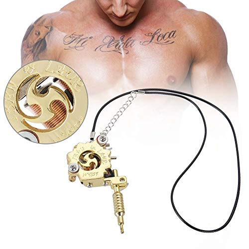 Legering Mini Tattoo Machine Hanger Tattoo Machine met Echte Coils Ketting Decoratie Handtas Ornament - Goud