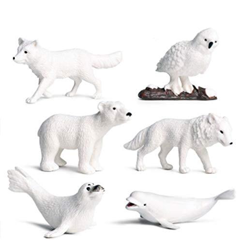 TOYANDONA 6Pcs Arctic Circle Ocean Sea Animal Figurines Set Plastic Wild Animal Learning Models Includes Polar Bear  Beluga& Ferrets Figures for Toddlers Kids