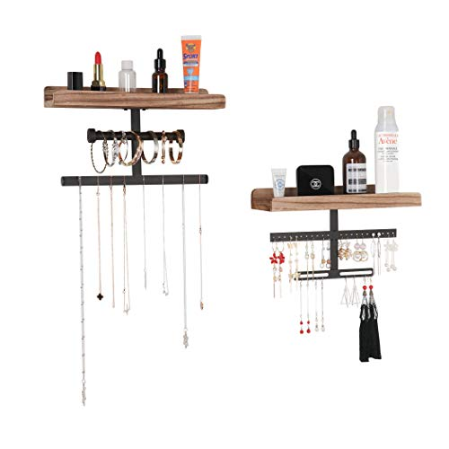 Lavievert Hanging Wall Mounted Jewelry Organizer Rustic Wood Jewelry Holder Display with Shelf for Necklaces, Bracelet, Earrings, Ring - Set of 2