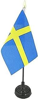 Zweden Tafelvlag 15x10 cm - Zweedse Bureaivlag 15 x 10 cm - gouden speerblad - AZ FLAG