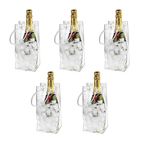 5 Stück Transparente PVC-Champagner Wein Ice Bag, Auslaufsichere Flaschenkühler Eistasche Kühltasche Mit Griff Für Party, Outdoor, Champagner, Kaltes Bier, Weißwein