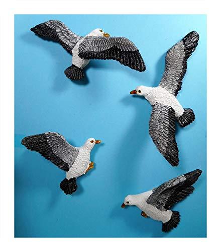 Rahlf 4er Set Magnet 3 D Möwe je ca. 7 x 2 cm Vogel Seagull Maritim See Meer Kühlschrankmagnet Figur Deko 39.3150