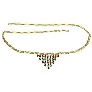 Memoir Gold Plated Brass, Grape Design, Multi Colour Stone Studded Stylish Waistbelt, kamarpatta, Traditional kamarbandh Women Wedding Bridal Jewellery Ethnic